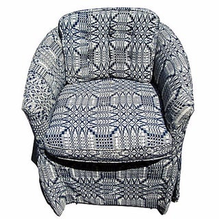 Upholstered Graphic Print Skirted Ladies Chair