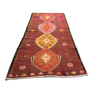"Vintage Turkish Kilim Rug - 4'9"" X 9'7"""