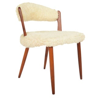 Danish Modern Natural Wool Vanity Stool