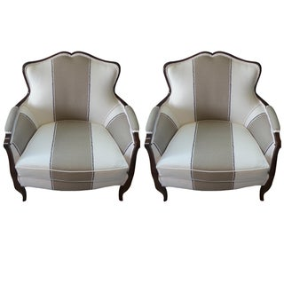 Racing Stripe Bergère Chairs - A Pair