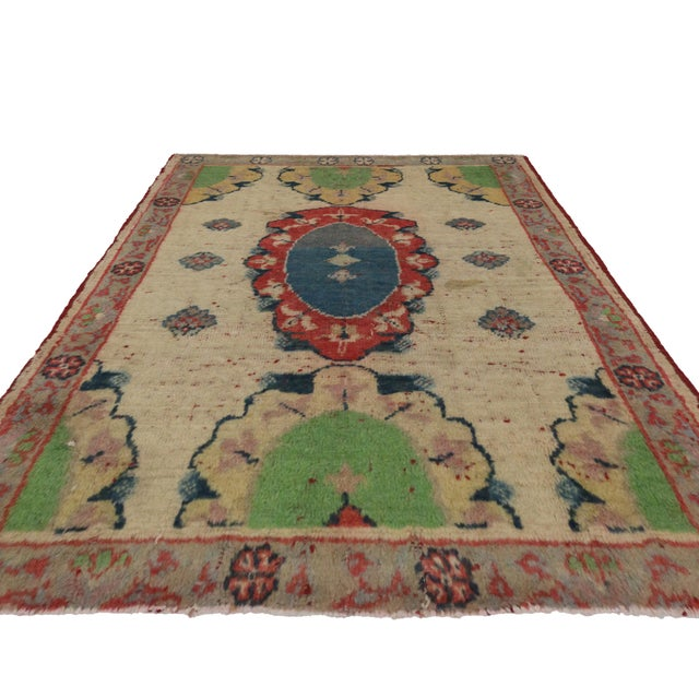 Vintage Yastik Turkish Rug with Modern Style, 2'4 x 3' - Image 3 of 4