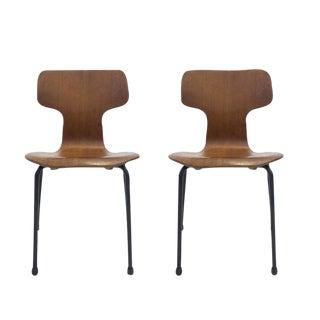 Pair of Rare Arne Jacobsen for Fritz Hansen Children's Bent Plywood Chairs
