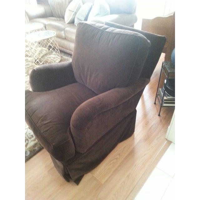 Image of Lee Industries Chocolate Brown Velvet Swivel Chair