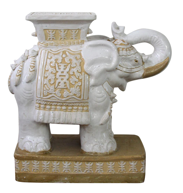 Vintage Ceramic Elephant White Garden Stool Table Chairish