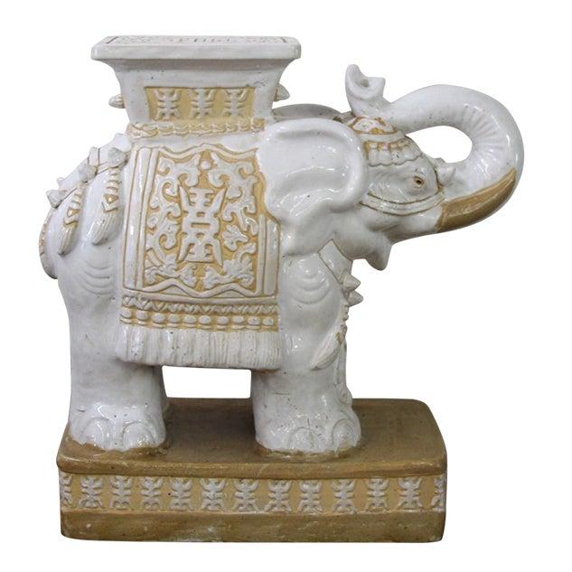 Vintage Ceramic Elephant White Garden Stool Table Chairish