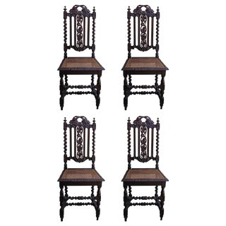 19th C. Renaissance Style Carved Oak Dining Chairs - Set of 4