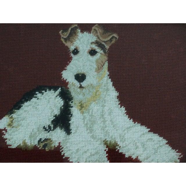 Image of Antique Black Forest Framed English Terrier Dog Needlepoint