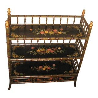 Black Lacquered Painted Floral Design Bamboo Style Etagere