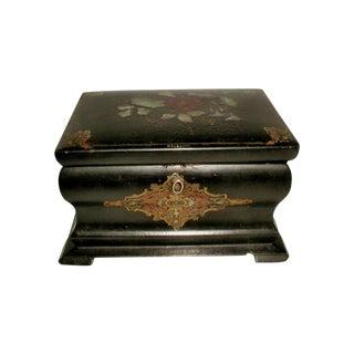Antique Inlaid Papier Mache English Tea Caddy Box
