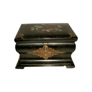 Antique Inlaid Papier Mache English Tea Caddy Box