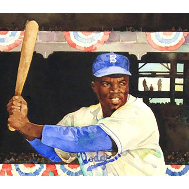 "Jerry Pinkney ""Jackie Robinson"" Watercolor Painting - Image 3 of 3"