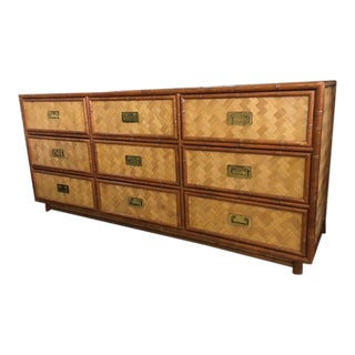 Tropical Chic Bamboo and Rattan Dresser Circa 1970's