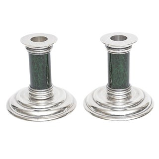 Deco Jean Puiforcat Pair of Silver Plate and Malachite Enamel Candlesticks
