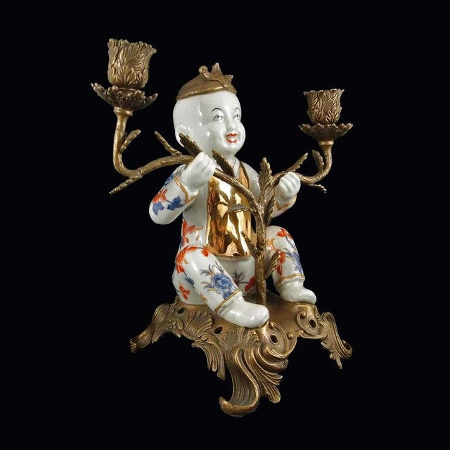 Pair of Chinoiserie Figural Porcelain and Ormolu Two Arm Candelabra - Image 3 of 9