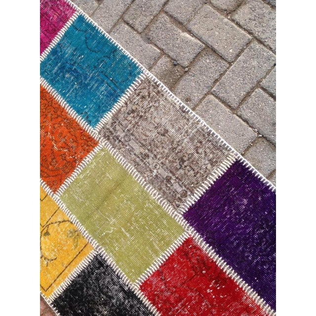"Multicolor Turkish Runner Rug, 2' 7"" x 9' 2"" - Image 4 of 6"