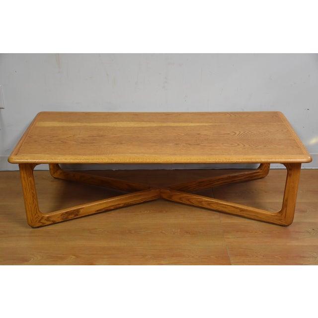 lane mid century oak coffee table chairish. Black Bedroom Furniture Sets. Home Design Ideas
