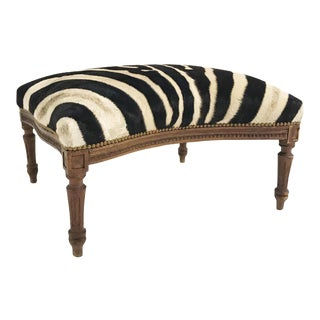 Forsyth One of a Kind Vintage Ottoman Restored in Zebra Hide