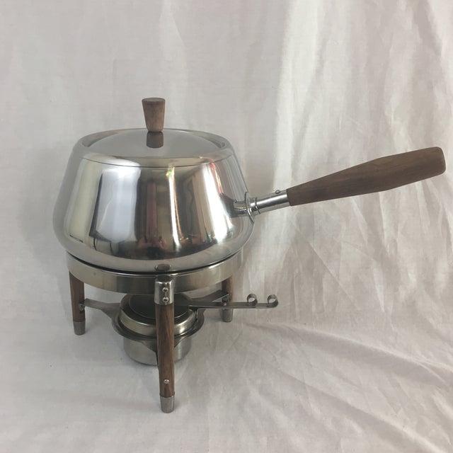 Image of Stainless & Walnut Fondue Pot