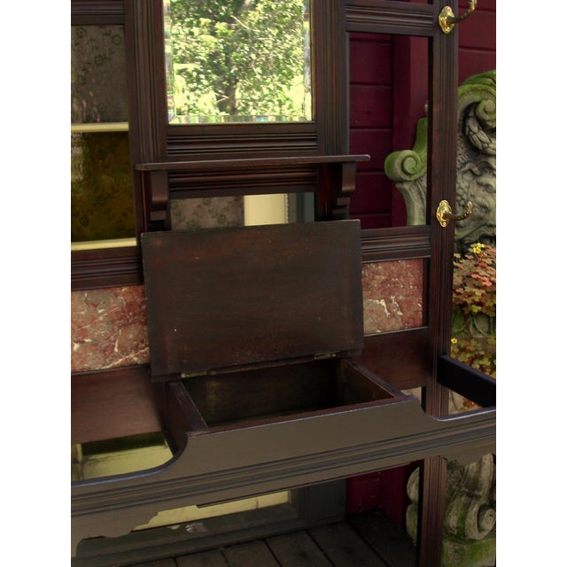 Antique Eastlake Walnut And Marble Shelf Mirror - Image 6 of 8