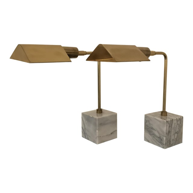 Koch & Lowy Mid-Century Brass Table Lamps- a Pair - Image 1 of 11