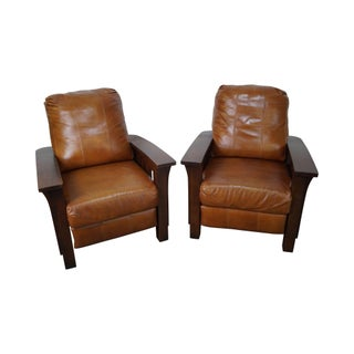 Mission Oak Stickley Style Leather Recliners - A Pair