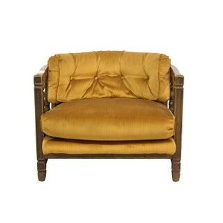 Gold Velvet Upholstered Barrel Armchair