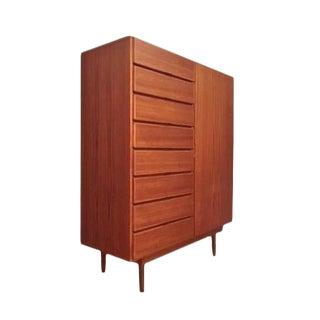 Danish Modern Uldum Mobelfabrik Mobler Teak Gentlemans Chest Tallboy Dresser