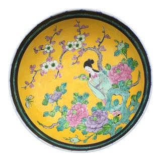 Chinese Yellow Famille Juane Prunus Footed Bowl