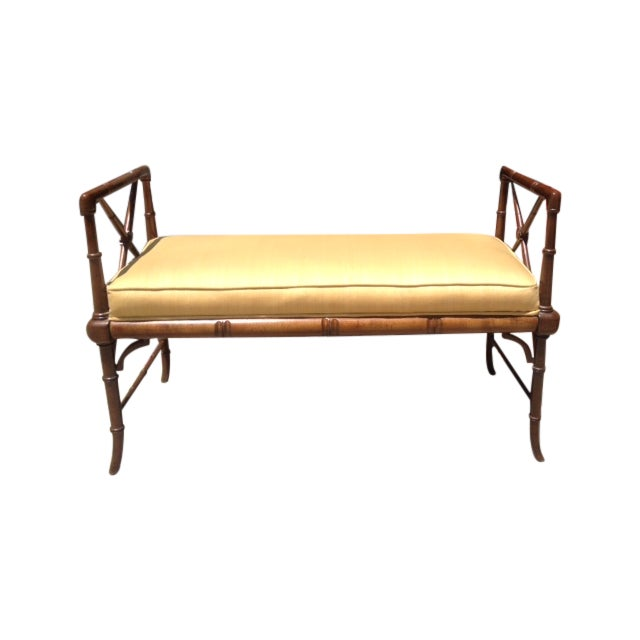 Vintage Faux Bamboo Chippendale Bench - Image 1 of 6