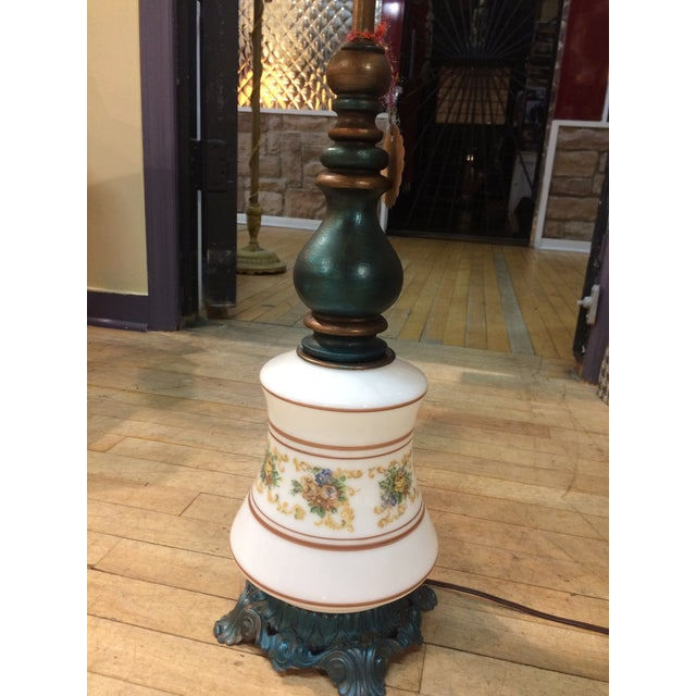 Antique Turquoise Brass Base Table Lamp - Image 3 of 5