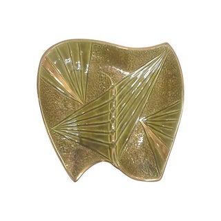 Mid-Century Modern Gilded Olive Green Ceramic Ashtray