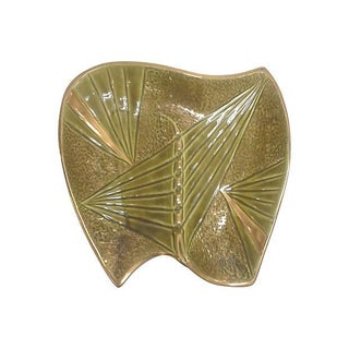Mid-Century Modern Gilded Olive Green Ceramic Ashtray