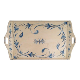 Vintage Cream & Blue Painted Tray