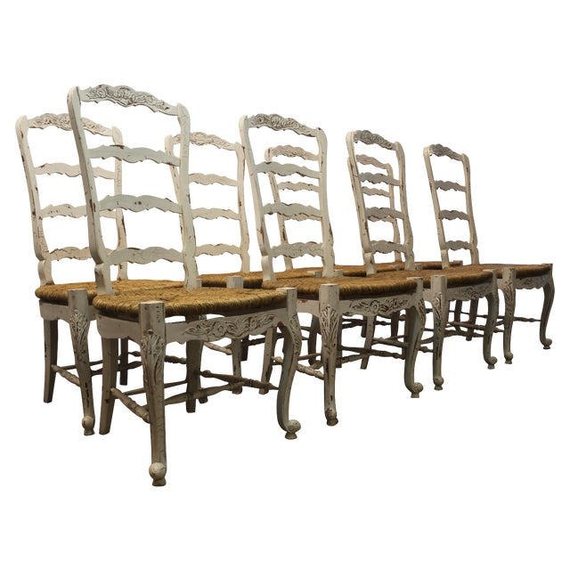 Country French Rush Seat Side Chairs - Set of 8 - Image 1 of 9