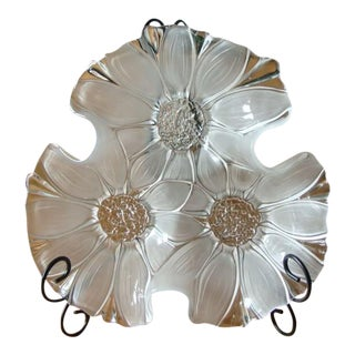 Glass Floral Plate With Display Stand