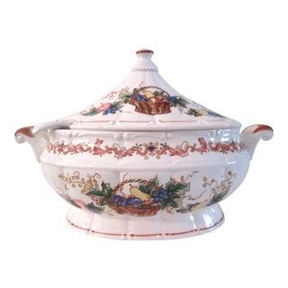 Large Ceramic Fruit Basket Tureen & Ladle