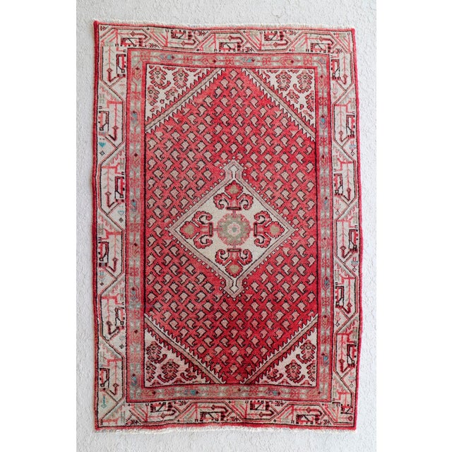Strawberry & Mint Vintage Persian Rug - 3′3″ × 4′11″ - Image 2 of 5