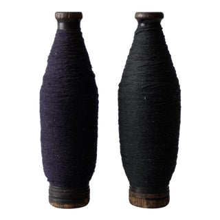 Antique Wooden Spools With Navy Thread - a Pair