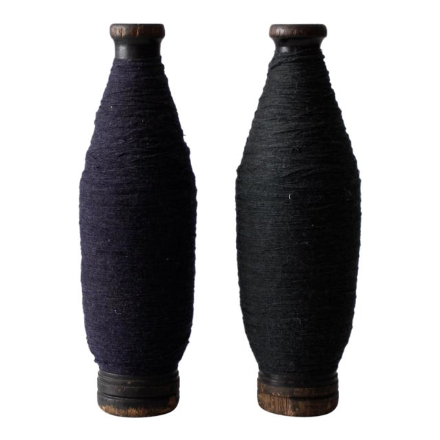 Antique Wooden Spools With Thread - a Pair - Image 1 of 7