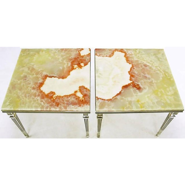 Pair of 1940s Silver Plated Bronze and Onyx End Tables - Image 4 of 7