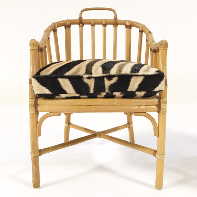 Forsyth Rattan Armchairs with Custom Zebra Hide Cushions - A Pair - Image 7 of 7
