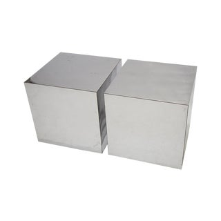 Paul Evans Chrome Cubes - A Pair