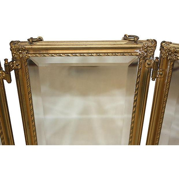 19th C. Celluloid Trifold Beveled Mirror - Image 6 of 6