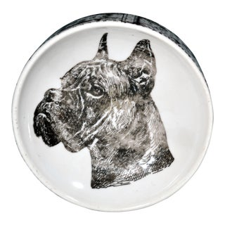 Vintage Piero Fornasetti Boxer Dog Porcelain Ashtray, 1950s-60s.