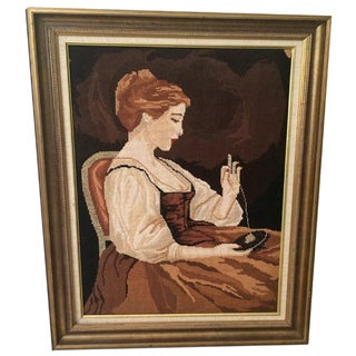 Vintage Framed Needle Point Art of Sewing Lady