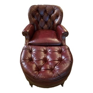 Chestfield Rounded Back Club Burgundy Leather Lounge Chair With Half Moon Ottoman Obo