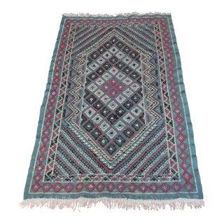 Turkish Handmade Wool Sumak Cicim Kilim Rug - 3′4″ × 6′