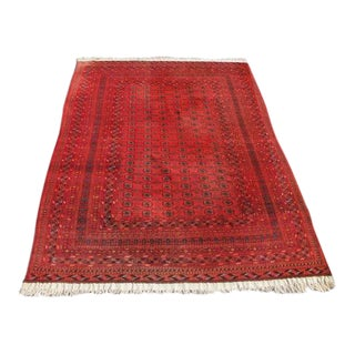 Semi Antique Afghan Turkman Knotted Tribal Rug - 9″ × 12″