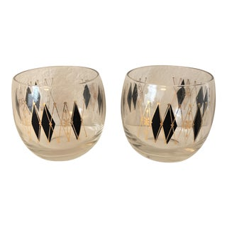 Vintage Gilt Harlequin Highball Glasses - Pair