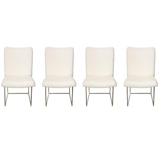 Set of 4 Milo Baughman Architectural Chrome Box Dining Chairs